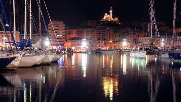 Thumbnail for Vieux Port Marseille Notre Dame Night 2