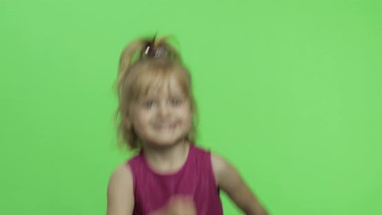 Thumbnail for Girl Portrait in Purple Dress Running. Happy Four Years Old Child. Chroma Key