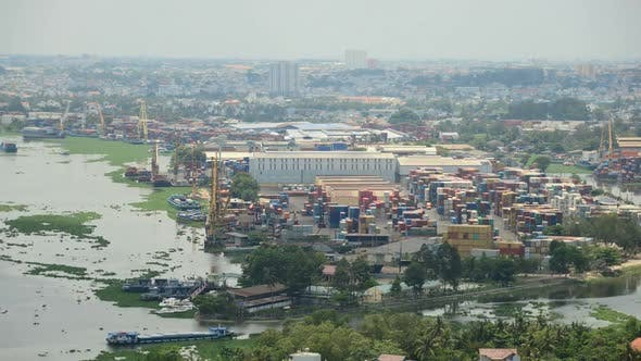 Thumbnail for Busy Shipping Container Port In Southern Vietnam 1
