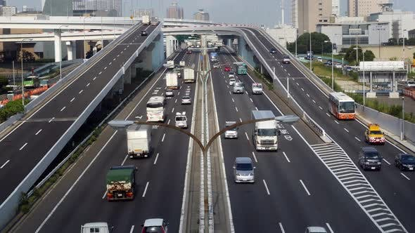 Thumbnail for Busy Truck Traffic On Japanese Highway - Tokyo Japan 5