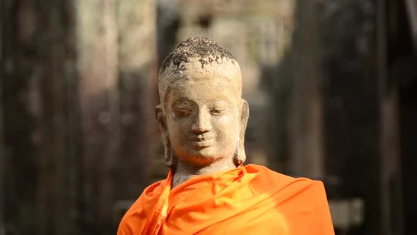 Thumbnail for Robed Buddha In Ancient Temple  - Angkor Wat Temple Cambodia 3