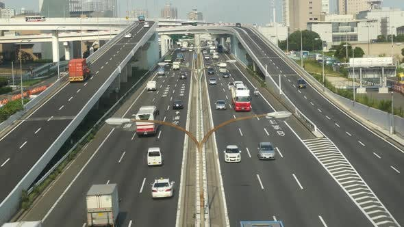 Thumbnail for Busy Truck Traffic On Japanese Highway - Tokyo Japan 6