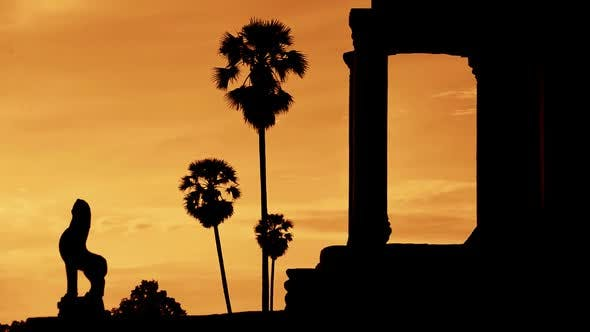 Cover Image for Silhouette Of Main Temple Entrance At Sunrise - Angkor Wat, Cambodia