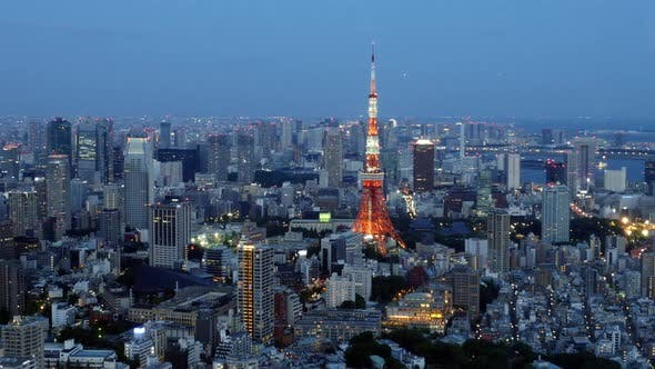 Thumbnail for Tokyo Skyline With Tokyo Tower At Night 1