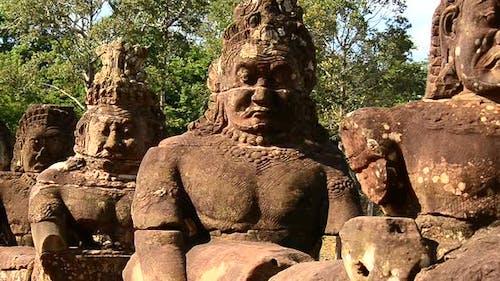 Stone Carving Of Buddha's Gods On Bridge - Angkor Wat, Cambodia 3