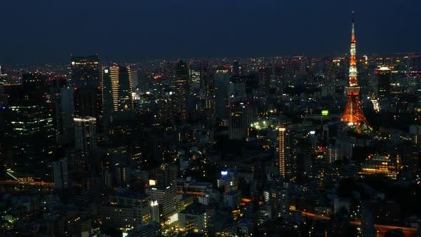 Thumbnail for Tokyo Skyline With Tokyo Tower At Night 3