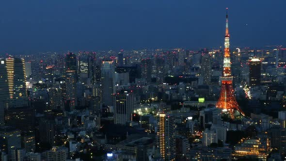 Thumbnail for Tokyo Skyline With Tokyo Tower At Night 4