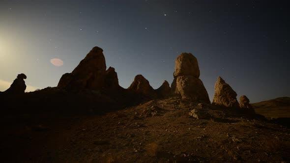 Moon Rise At Tronas Pinnacles California Desert