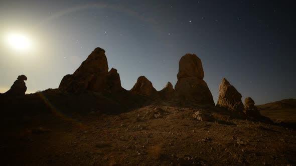 Moon Rise At Tronas Pinnacles California Desert 1