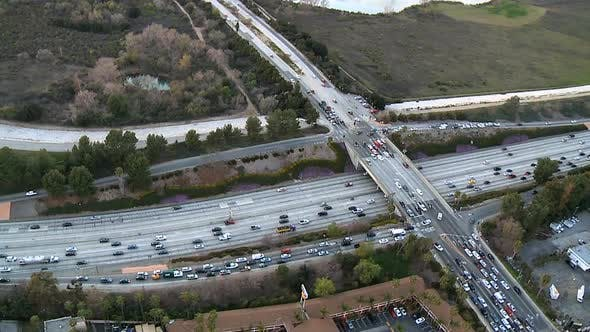 Thumbnail for Aerial View Of Freeway  / Highway Interchange Los Angeles