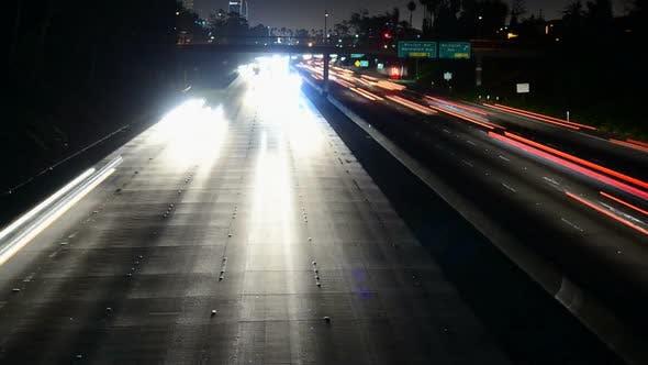 Thumbnail for Traffic Heading Towards Los Angeles City At Night 1