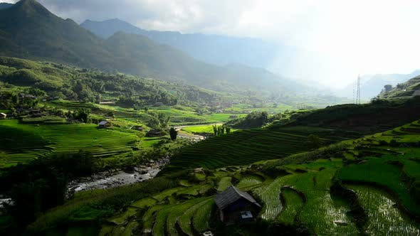 Thumbnail for Clouds And Shadows Passing Over A Valley Of Rice Terraces In Sapa Vietnam 1