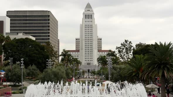 Thumbnail for Los Angeles City Hall And Fountain - Los Angeles California 2