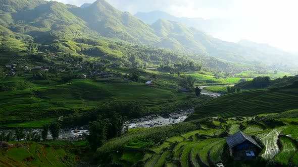 Thumbnail for Clouds And Shadows Passing Over A Valley Of Rice Terraces In Sapa Vietnam 4