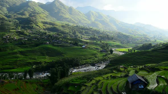 Thumbnail for Clouds And Shadows Passing Over A Valley Of Rice Terraces In Sapa Vietnam 5