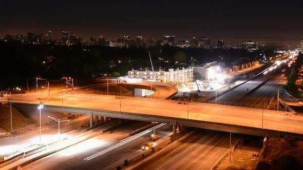 Cover Image for Night Traffic On Busy Freeway In Los Angeles 2