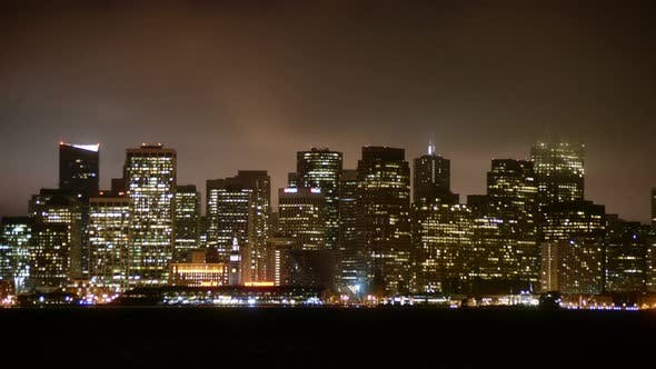 The Foggy San Francisco Skyline At Night 1
