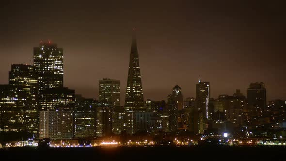 Thumbnail for The Foggy San Francisco Skyline At Night 14