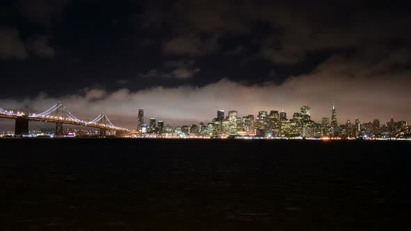 Thumbnail for The Foggy San Francisco Skyline At Night 2
