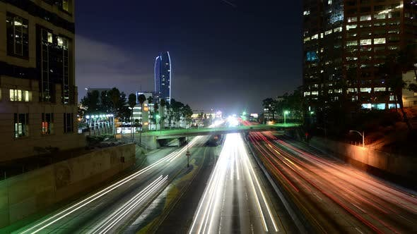 Cover Image for Traffic In Downtown Los Angeles At Night  - 2