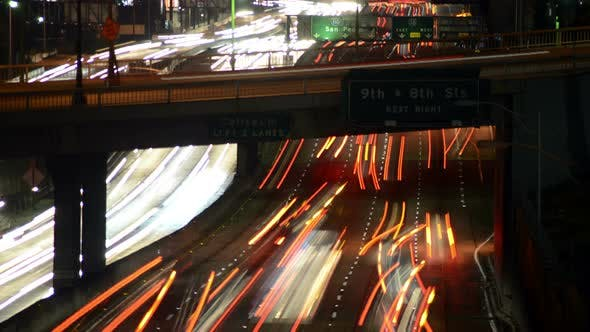 Thumbnail for Traffic In Downtown Los Angeles At Night - 2