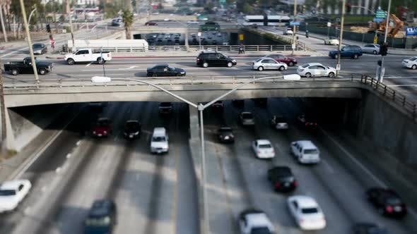 Overpass On The 101 Freeway In Downtown Los Angeles - Tilt Shift 1