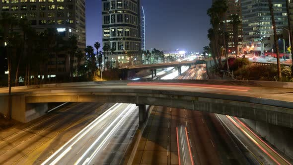 Thumbnail for Traffic In Downtown Los Angeles At Night - 4