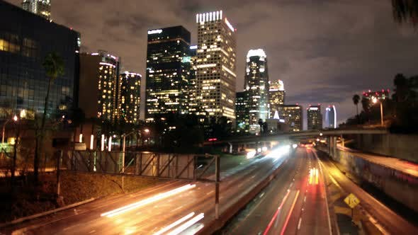 Cover Image for Traffic In Downtown Los Angeles At Night - 6