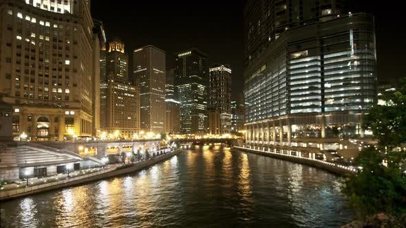 Thumbnail for Downtown Chicago Waterway At Night