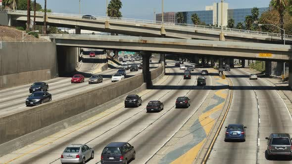 Cover Image for Traffic On Busy 10 Freeway In Downtown Los Angeles California 2