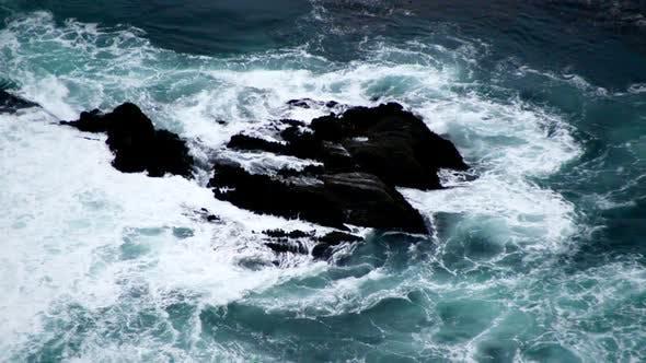 Big Sur Waves Rolling Over Rocks