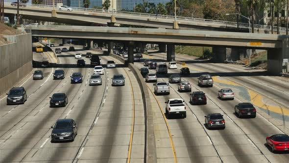 Thumbnail for Traffic On Busy 10 Freeway In Downtown Los Angeles California 3