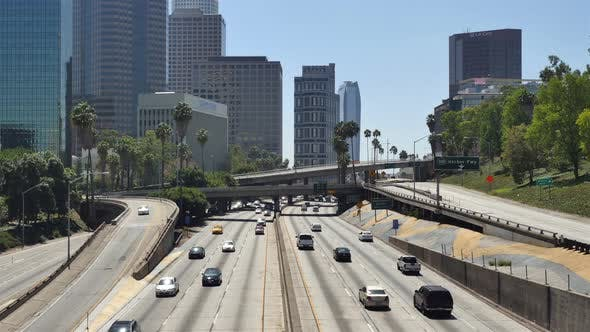 Thumbnail for Traffic On Busy 10 Freeway In Downtown Los Angeles California 5