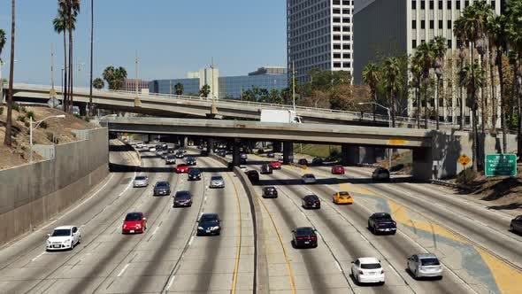 Cover Image for Traffic On Busy 10 Freeway In Downtown Los Angeles California 9