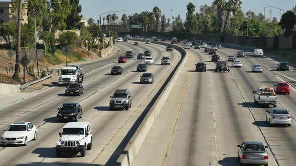 Traffic On Busy 101 Freeway In Downtown Los Angeles California