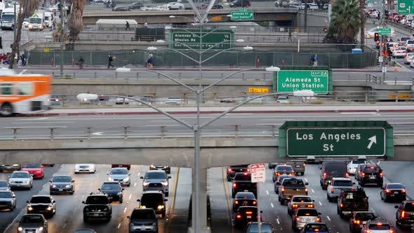 Thumbnail for Traffic On Busy Freeway In Downtown Los Angeles California 12