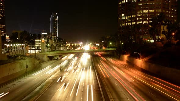 Thumbnail for Rush Hour Traffic In Downtown Los Angeles At Night