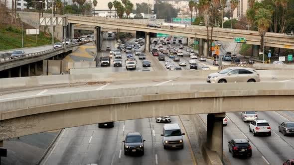 Cover Image for Traffic On Busy Freeway In Downtown Los Angeles California 19