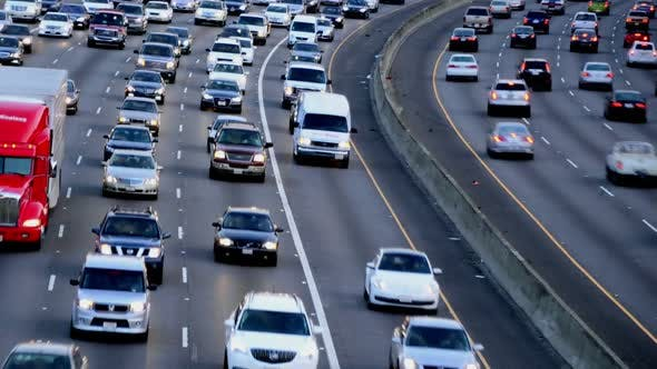Thumbnail for Rush Hour Traffic On Busy Los Angeles Freeway 5