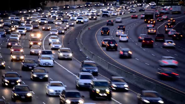 Cover Image for Rush Hour Traffic On Busy Los Angeles Freeway 6