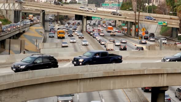 Cover Image for Traffic On Busy Freeway In Downtown Los Angeles California 21