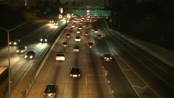 Thumbnail for Traffic On The 101 Freeway At Night  Los Angeles 2