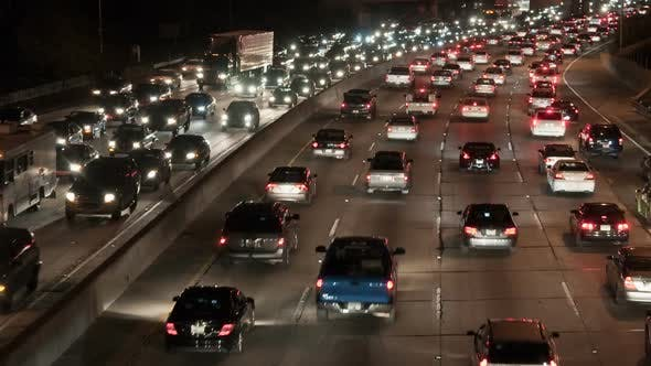 Traffic On The Busy Freeway At Night - 1