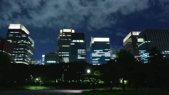 Thumbnail for Downtown Tokyo Business District At Night With Clouds 1