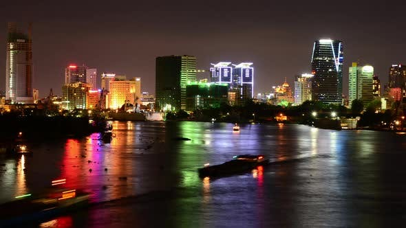 Cover Image for Scenic Ho Chi Minh City (Saigon) Skyline At Night - Vietnam 1