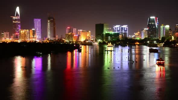 Thumbnail for Scenic Ho Chi Minh City (Saigon) Skyline At Night - Vietnam 11