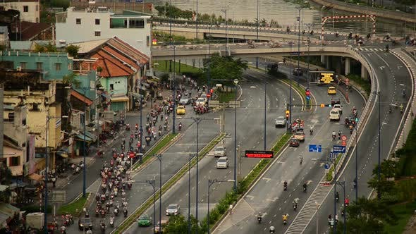 Cover Image for Traffic On Busy Street In Downtown Ho Chi Minh City Vietnam 3