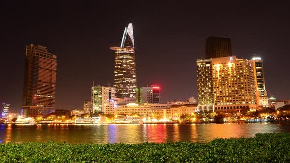 Cover Image for Scenic Ho Chi Minh City (Saigon) Skyline At Night - Vietnam 16