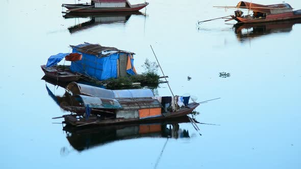 Fishing Boats In The Song Hong River -  Hanoi Vietnam 1