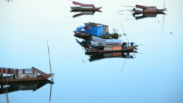 Fishing Boats In The Song Hong River -  Hanoi Vietnam 2